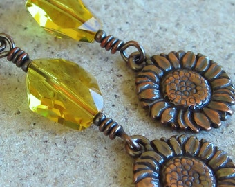 Yellow Copper Earrings Swarovski Crystals Sunflowers