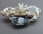 Translation Pendant  with Natural Twig, Labradorite & Opal