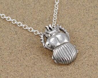 Scarab Beetle Pendant Neckace - Sterling Silver