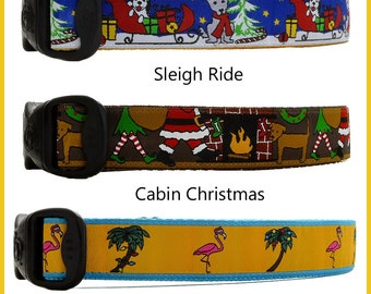 Seasonal Dog Collars, Christmas Dog Collars, Tropical Dog Collars, Cabin Dog Collars, Xmas Dog Collars, Winter Dog Collars, Holiday Collars