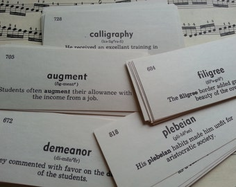 100 words ... 100 Vintage ENGLISH Vocabulary Cards