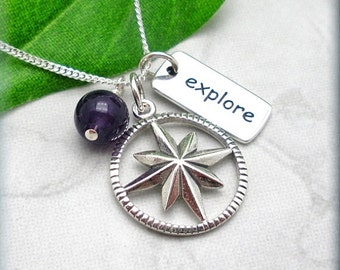 Compass Necklace, Inspirational Quote, Travel, Graduation Gift, Friendship Necklace, Personalized Jewelry, Explore, Sterling Silver (SN761)