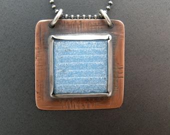rustic tile pendant, vintage blue glass tile pendant necklace, handmade necklace