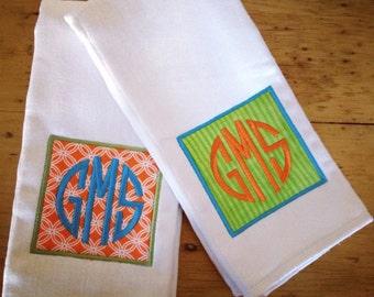 Boy's Three Initial Monogram Burp Cloth Set