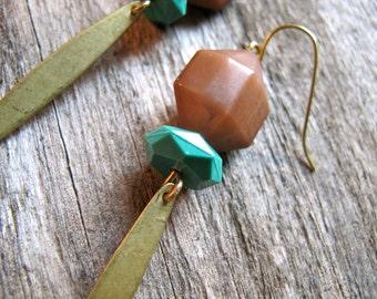 Dagger Earrings. Boho Dangles. Teal and Brown. Geometric. Fall Colors. Geometric Bead and Brass Earrings