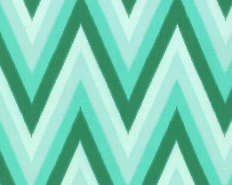 SALE - Color Me Happy - Ikat Chevron in Emerald: sku 10828-13 cotton quilting fabric by V and Co. for Moda Fabrics - 1 yard