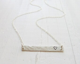 Trampled Heart - Hammered Bar Necklace - Valentine Jewelry