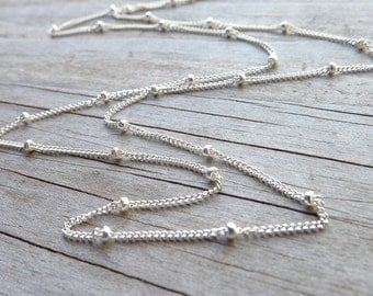 Satellite Chain Sterling Silver Beaded Necklace Layering Piece Tiny Sterling Silver Beads on Chain Dainy Beaded Choker