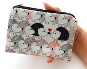 Hedgehog Love Little Zipper Pouch Coin Purse Gadget Case ECO Friendly Padded