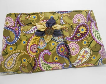 Large Paisley Clutch with Kanzashi Brooch Olive Green Clutch with Flower Brooch