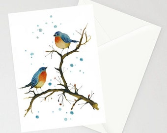 Cute Greeting Card - WARM INSIDE - blue birds English robins watercolor art card recycled paper with envelope Made in Canada