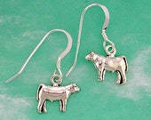 Stock Show Steer Earrings in Sterling Silver - Free Chain