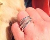 Sterling silver ring - Organic Molten
