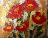 Summer Poppies  Small original floral painting on wood canvas