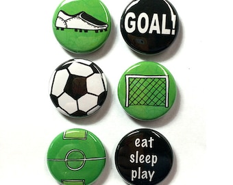 Soccer Magnets or Pins - Sports Fridge Magnets or Pinback Buttons Set, Soccer Coach, Gym Teacher, Player, Team Gift for boy or girl