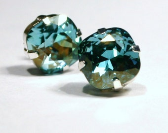 Aqua Champagne Crystal Stud Earrings Classic Sparkling Teal Green Mint Seafoam Solitaire Swarovski 12mm Sterling Post & Gold Women's Jewelry