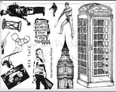 unmounted rubber stamp plate England London Big Ben cricket hour glass cassette tape   quotes  no. 1441