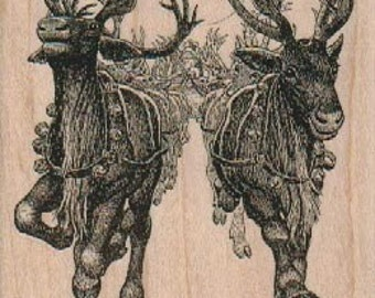 rubber stamp Large Christmas Reindeer  Rubber  Stamp stamping craft supplies 17972 paper craft