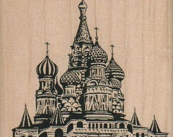 Moscow Churches   rubber stamps  vacation cling stamp, unmounted or  wood mounted 5833
