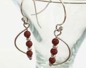 Vine Earrings, Red Jasper Earrings, Sterling Silver Hammered Dangle Earrings, Silver and Red Earrings, Boho Chic Artisan Metalsmith Earrings