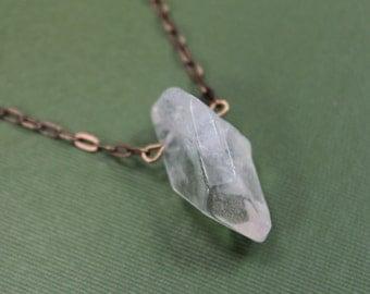 Minimalist Raw Quartz Point Necklace - Antique Brass Chain