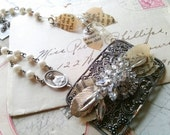 Promise~ collage necklace, antique, assemblage necklace, religious necklace, poetry necklace, shabby, old, vintage, rosary necklace.