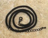 16 Inch Black Mesh Necklace, Black Mesh Cord, Pendant Cord, Black Pendant Cord, Black Mesh Choker