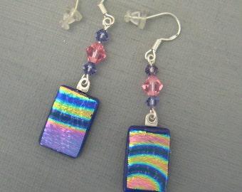 Purple Fused Glass Earrings, Dichroic Fused Glass Drop Earrings, Pink and Purple Fused Glass Dangle Earrings