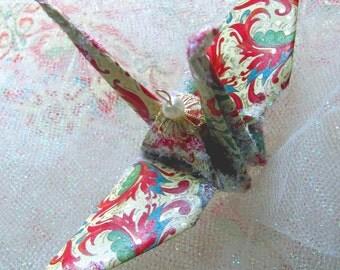 Florentine Garden Peace Crane Bird, Wedding Cake Topper,  Party Favor Christmas Ornament Origami Japanese Paper Anniversary Table Decoration