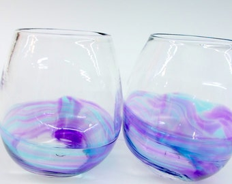 Set of 2 Hand Blown Art Glass Stemless Wine Glasses, Watercolor Series Wedding Registry Gifts
