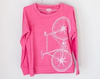 FIXIE SHIRT MEDIUM - Women's Bike Long Sleeve Pullover Tee, Azalea M