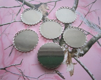 Cabochon Settings 28mm Bezel Round Lace Edge Silver Tone Findings on Etsy x 6