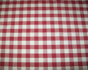 Red and Tan 1 Inch Woven Gingham Check Fabric -  7/8 yard with attached remnant