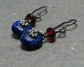Lapis Earrings Garnet Earrings January Birthstone Earrings Oxidized Sterling Silver Earrings