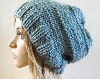 Hand knit slouchy oversized hat seafoam icy mint blue green luxury chunky wool knitted women teen men unisex baggy slouch beanie