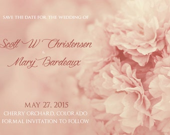 25 cards per set- wedding save the date cards  -vintage pink cherry blossoms