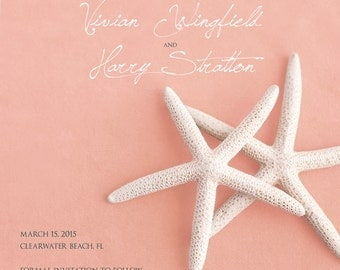 25 magnets per set- 5x5 Wedding save the date Magnets- WHITE STARFISH on pink, coral or magenta