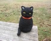 Needle Felted Chubby Black Cat Kitty Figure