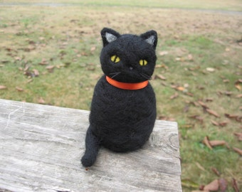 Needle Felted Chubby Black Cat Kitty Figure
