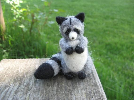 Needle Felted Raccoon Forest Animal Figure
