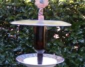 Glass Bird Feeder-Recycled Plate Garden Sculpture-Peach and Gray