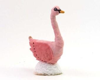 Vintage Inspired Spun Cotton Pink Swan Figure