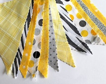 Yellow Zebra and Gray party decoration. Fabric sewn Circus flag Banner. Photo prop. 12 Pennant flags