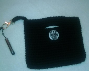 Crochet Cell Phone Bag, black with skull button cell phone cozy