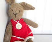 Natural Bunny, Organic Plush, Natural Stuffed Animal, HandKnit, CUSTOM ORDER
