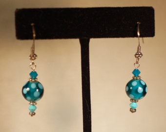 Blue Polka-Dot Earrings