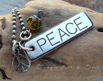 Peace Necklace Personalized Jewelry Hand Stamped Sterling Silver Copper