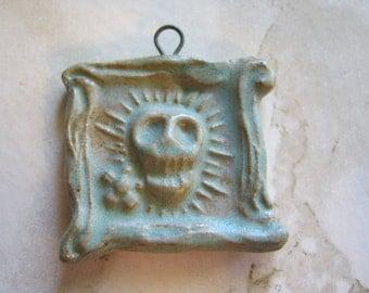 Framed Green Ceramic Day of the Dead Skull Pendant