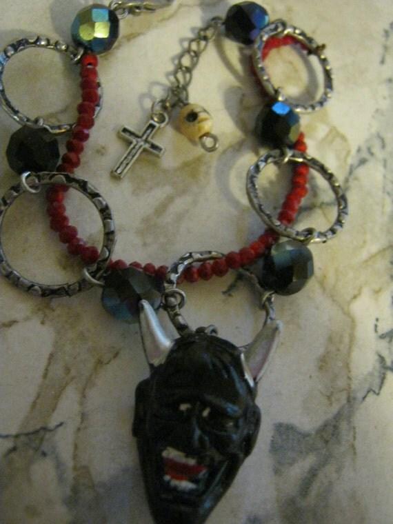 Vintage Black Devil Charm Bracelet