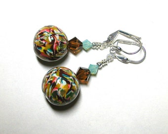 Glazed Polymer Clay Earrings with Swarovski Crystal